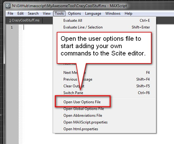 Open the user options file to start customizing