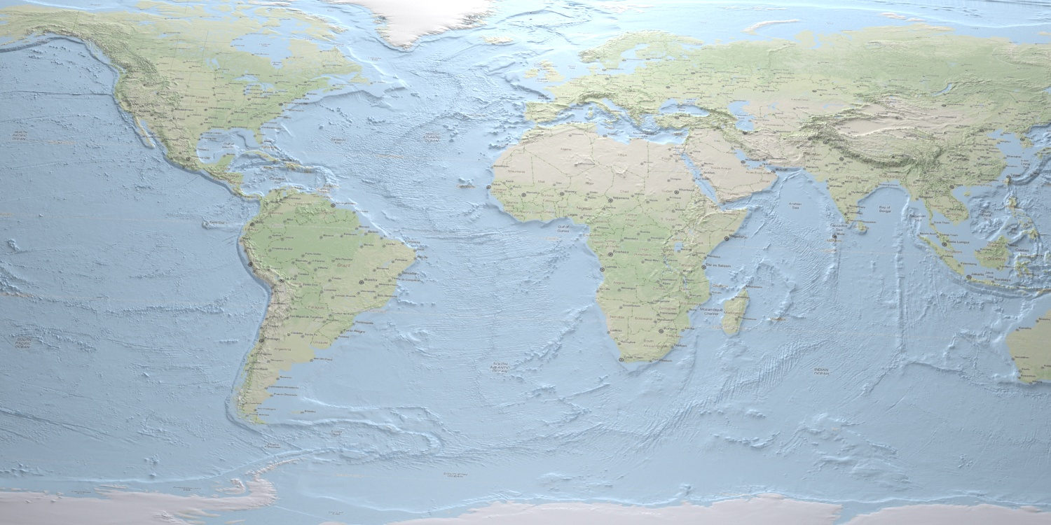 Worldmap textured with mapquest and displaced with ETOPO2