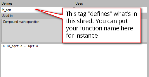 A simple function is tagged