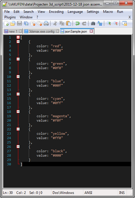 A sample json file with an array of json objects