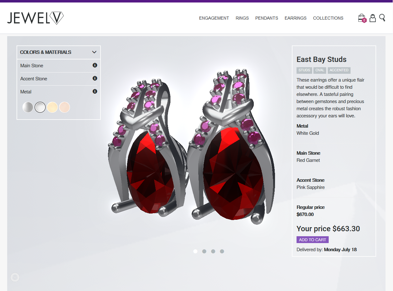 Configure jewelry in realtime 3D