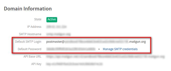 Domain info for a sandbox mailgun account